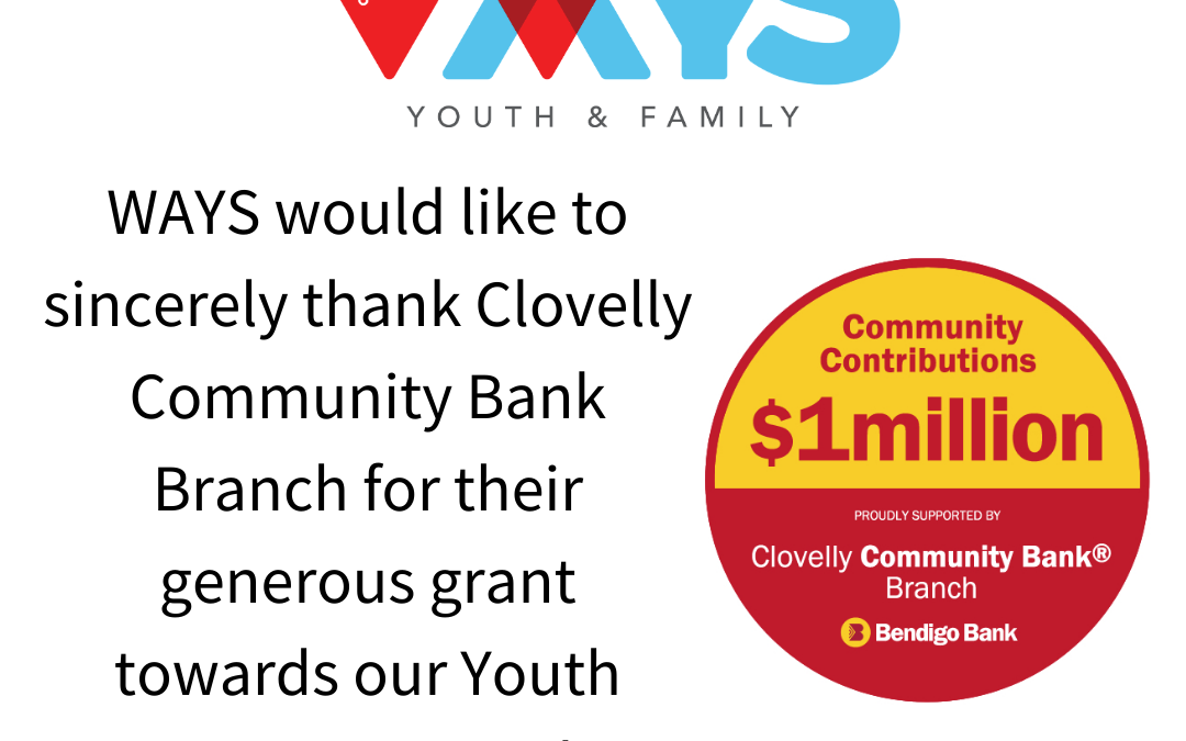 $10,000 Grant for our Youth Space from Clovelly Community Bank Branch